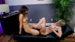 Buxom blonde MILF Dee Williams doggy fucked by shemale Chanel Santini