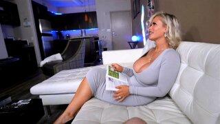 Stepmoms sexy bleached white hair and mega MILF titties