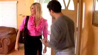 Hot Blonde Mom Fucks Her Son's Best Friend On Their Couch