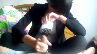 Chinese northeast middle school girl handjob and footjob