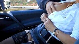 SLUTTY MILF PLAYS WITH MEN IN HER CAR