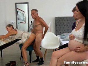 8 Months Pregnant Maid Watching Family Quickie Porn