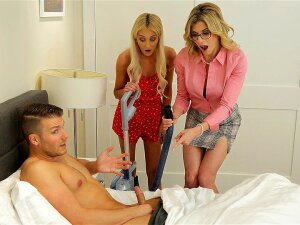 Tallie Lorain Finds Her Adopted Bro With An Erection Lasting Over 4 Hours So She And Stepmom Cory Chase Help Him Cum Porn