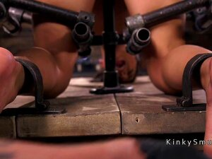 Gagged Brunette Slave Gina Valentina In Device Bondage Clit Suctioned And Nipples Clamped Then In Back Arched Position Whipped And Waxed And Fingered In Dungeon Porn