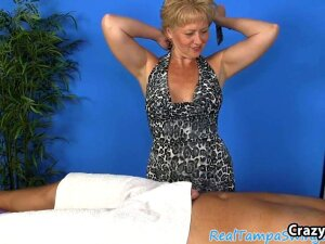 Mature Masseuse With Big Tits Strokes And Pulls On Clients Cock Porn