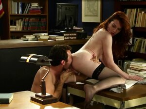 Slender Redhead Coaxes Friend To Have Hard Sex In Library Porn
