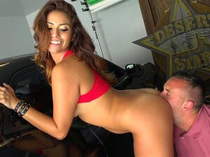 Isabella Taylor Bents Over The Car And Gets Her Twat Licked Porn