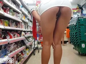 Perfect Ass Bends In Shop And Demonstrates Pussy - Public Porn