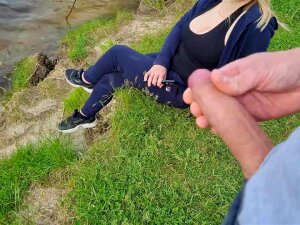 Stud Flashes Rod In Public And Spunk Fountain Near Golden-Haired Cutie Porn