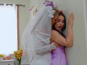 Stunning Bride Candice Dare Fucks Pretty Brunette Right At Her Wedding Day Porn