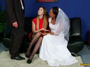 Ebony Bride Doesn't Want Her Dress To Be Covered In Sperm Porn