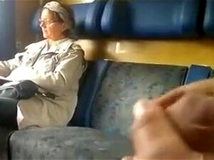 I Have To Say That I Was Pretty Lucky - The Granny Didn't Move Away If Though She Knew That I Was Stroking My Cock Next To Her. I Even Ejaculated In The End! Porn