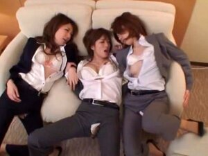 Check Out The Hot Asian Office Girls Spending Some Time In A Hotel With One Guy! Plenty Of Group Action FFFM Style! These Hot Chicks In Office Suits Are Sucking His Cock In Turns And Licking His Body And Even Some Ass Licking Happens! This Is CFNM All The Way When These Gals Get Him Naked! Lesbian Sex For The Girls Who Are Not Wioth The Guy And They Are Enjoying Each Other´s Pussies With Plenty Of Fingering And Tit Licking. There Is Some Rear Fucking As He Services The Girls And They Are Playing With His Cock And Their Pussies. There Is Much Cum Eating And Cum On Faces As The Party Winds Down To One Tired Guy! Porn