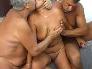 Two Old Men Fucking Very Old BBW Granny, Granny, Mature And Horny Porn