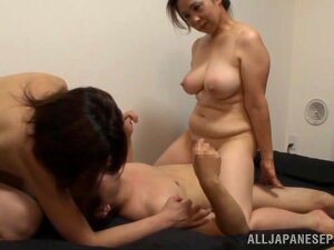 Japanese AV Model Is A Naughty Babe In An Mff Threesome In The Bathroom! The Two Gals Have Nice Big Tits And He Gets A Tit Fuck Before Enjoying Plenty Of Pussy To Lick While They Suck His Big Cock. The Girls Trade Off In A Dick Ride And These Mature Babes Tire Him Out In This Hardcore Threesome! Porn