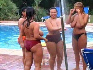 Four Babes Are Getting Naked At The Poolside Porn