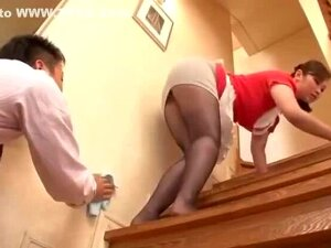 Sexy Japanese Housekeeper In Miniskirt And Pantyhose Turns Guys Crazy ! Porn