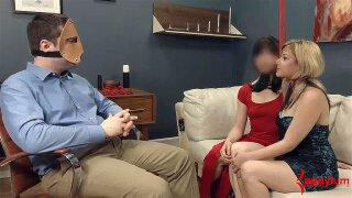 Two smoking hot babes get enslaved and tied up by a crazy guy with a mask on his face, and experience really tough BDSM sex, getting humiliated and banged in all positions