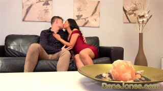 Dane Jones Petite Asian in sexy red evening dress fucked on the couch