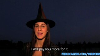 """""""PublicAgent Halloween witch gets fucked behind a tree in POV"""""""
