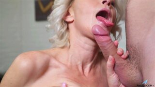 Cocksucking granny slut bends over for doggy style