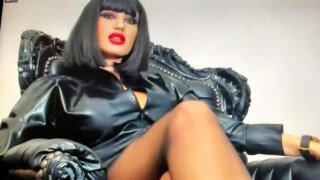 Smoking mean and cruel Mistress in black pantyhose