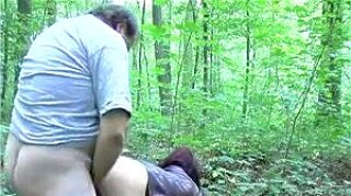 Cheating wife with fat pervert man in the woods