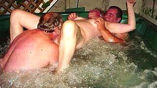 Mz Linda in the hot tub with friends