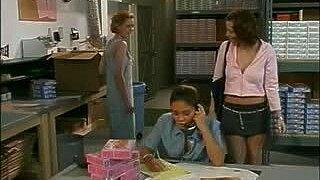 British slut Nadia in a lesbian threesome scene