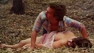 Desiree Cousteau, Joey Silvera in classic porn scene with threesome in the forest