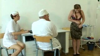 """""""a plumpy busty Russian babe on a gyno exam gets rude treatment"""""""