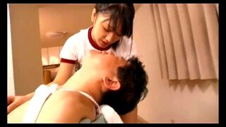 cute girl with lollipop shares saliva with older man