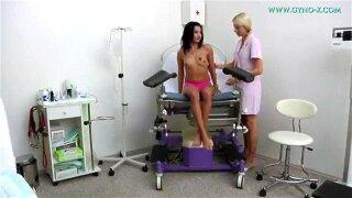 Nasty Lesbian Nurse Examines Tan Beauty