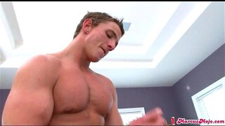 Muscular solo cutie Marcus Mojo beats off his dick