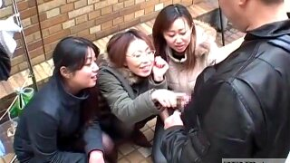 Chinese girls taunt fellow in public across hand job Subtitled