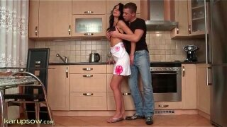 Sexy seduction and blowjob in the kitchen