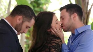 Beautiful babe Adria Rae is treated with a threesome sex