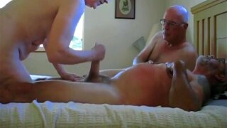 Old bisexual couple and a stranger sucking his dick