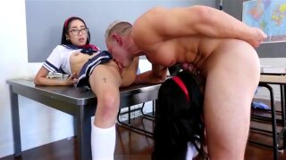 LittleAsianGirlz - Two Asian Schoolgirls Get Caught Bringing a Sex Toy to Sex Ed Class and Get Punished with a Big Cock
