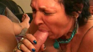 Fat mature Blue is sucking a loaded dick