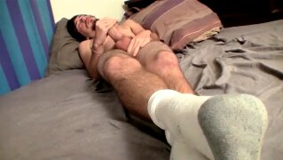 Bearded young man shoots jizz after jerking off solo
